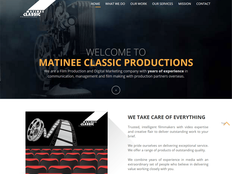 Matinee Classic Website designed by GetPromoted